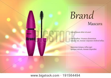 Purple mascara brush for eyelashes for eye makeup on delicate multi-colored background with bright spots of light. Advertising, packaging design. Realistic 3D vector illustration
