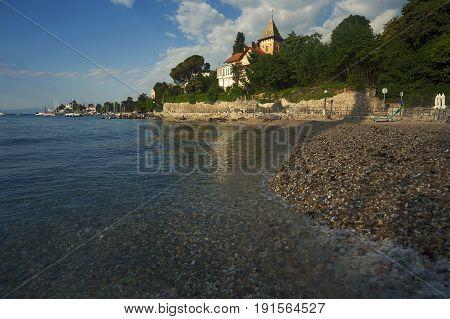 Warm Morning Light At Beach In Opatija, Croatia