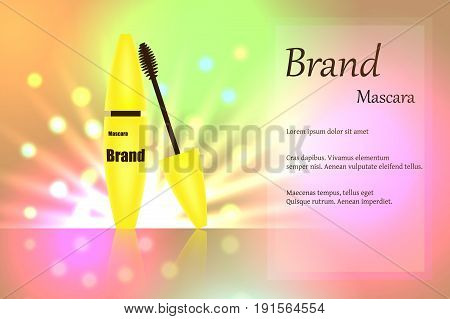 Yellow mascara brush for eyelashes for eye makeup on delicate multi-colored background with bright spots of light. text, poster, banner, catalogue. Realistic 3D vector illustration