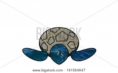 Sea turtle. Marine life. Marine animal. Illustration of a marine turtle; its paws are filled with water and its shell with sand. White background