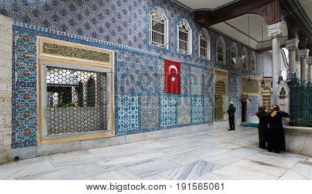 Istanbul Turkey - April 24 2017: Exterior view of the shrine of Hazrat Abu Ayub Ansari Eyup Sultan Mosque