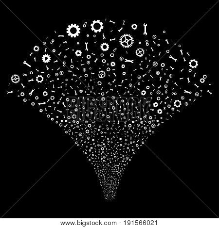 Fountain of setup tools symbols. Vector illustration style is flat white iconic symbols on a black background. Object salute organized from scattered symbols.