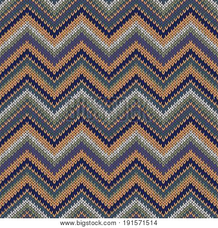 Knit Vector Seamless Pattern. Fashion Blue Green Orange White Gray Yellow Color Swatch