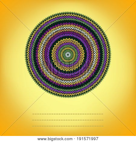 Cover Background with Ornamental Round Knitted Pattern, Style Circle Simple Yellow Orange Green Violet White Color Vector Needlework