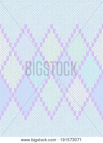 Seamless Ethnic Geometric Knitted Pattern. Style Light Blue Lilac Green Pink Yellow Background