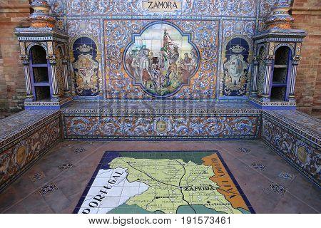 Ceramic Azulejos In Plaza De Espana, Seville, Andalusia, Spain