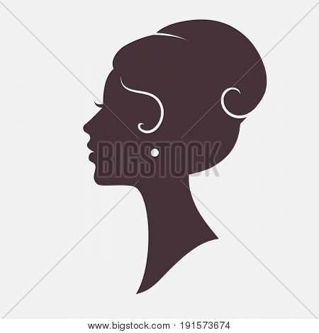 Girl Face Silhouette Profile with Stylish Hairstyle