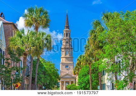 Charleston, South Carolina, USA historic downtown cityscape.