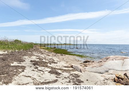 Buzzards Bay shoreline at Munn Preserve in Mattapoisett Massachusetts