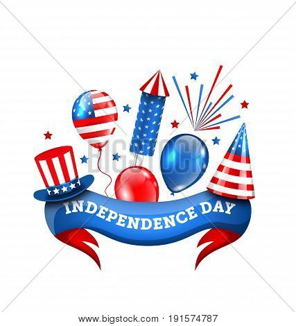 American Decoration for Independence Day, Traditional Symbols and Objects - Illustration Vector
