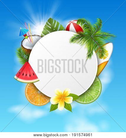 Clean Card with Coconut Cocktail, Slice Watermelon, Orange Fruit, Palm Leaves and Flowers. Summer Time, Holidays - Vector Illustration