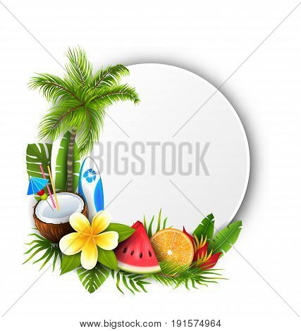 Card with Coconut Cocktail, Slice Watermelon, Orange Fruit and Flowers. Summer Time, Holidays - Vector Illustration