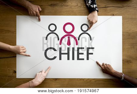 Group of hands pointing at banner of leadership business organization graphic