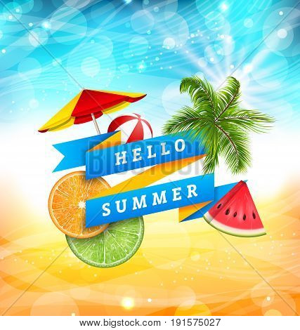 Summer Fun Poster Design with Watermelon, Umbrella, Beach Ball, Slices of Orange and Lime, Palm Tree Leaves. Banner Hello Summer - Illustration Vector