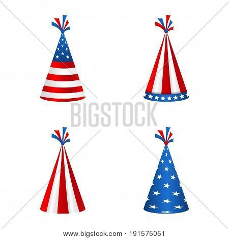 Set Party Hats with Flag of the United States of America. Accessory for American Holidays. Objects Isolated on White Background - Illustration Vector
