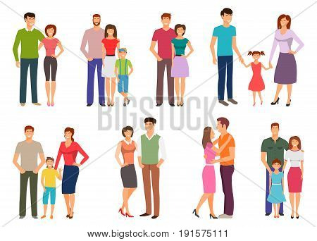 Happy family. People Figures, Parenting, Parents, Children Kids Son Daughter - Illustration Vector