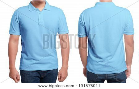 Blue polo t-shirt mock up front and back view isolated. Male model wear plain blue shirt mockup. Polo shirt design template. Blank tees for print