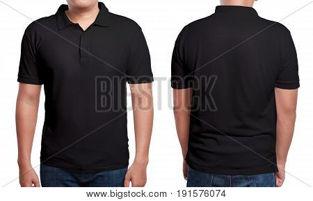 Black polo t-shirt mock up front and back view isolated. Male model wear plain black shirt mockup. Polo shirt design template. Blank tees for print