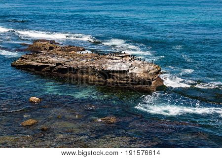 A rock formation at La Jolla Cove in San Diego, California serving as a resting place for Cormorants.