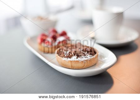 Chocolate Flan With Strawberry Flan
