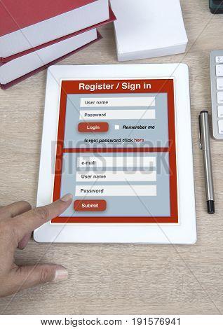 Online registration or sign in form show on tablet to link to internet.