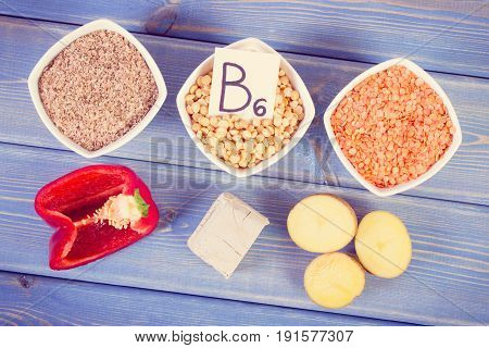 Vintage Photo, Ingredients Containing Vitamin B6, Dietary Fiber And Natural Minerals
