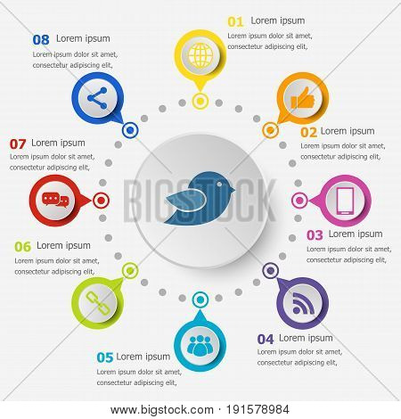 Infographic template with social media icons, stock vector
