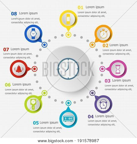 Infographic template with time icons, stock vector