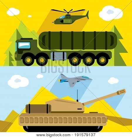 Aircraft, air defense, ground forces in different places.