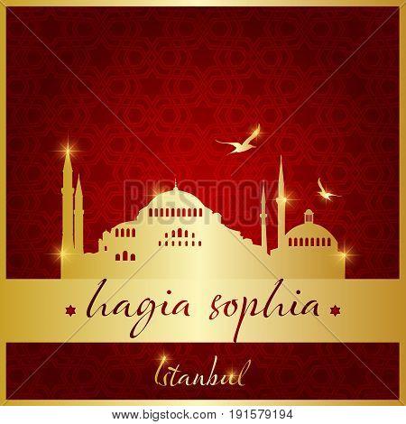 Istanbul hagia sophia mosque icon and shape vector illustration