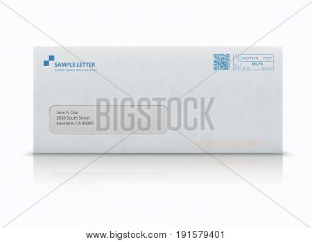 Vector illustration of closed white envelope for letters and documents with transparent window and post stamps isolated on white background. Mockup post envelope.