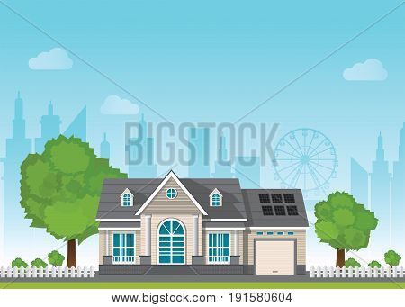 Private suburban smart home with sun solar module power control technology centralized systems on the background of the city Vector illustration in flat style.