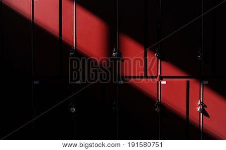Sunlight shade on red lockers