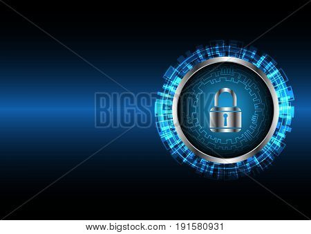 Technology Digital Future Abstract Cyber Security Circle Lock Background