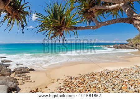 A clear day at Coolum Beach on Queensland's Sunshine Coast in Australia