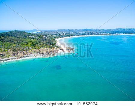 An aerial view of Byron Bay's beaches in Australia