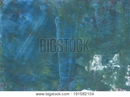 Hand-drawn abstract watercolor background. Used colors: Deep Space Sparkle Ming Metallic blue Teal blue Hookers green Queen blue Steel Teal Dark electric blue