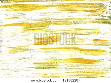 Hand-drawn abstract watercolor background. Used colors: White Lotion Milk Ivory Baby powder Saffron Arylide yellow Corn Light yellow Sandstorm Banana yellow