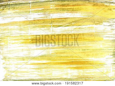 Hand-drawn abstract watercolor background. Used colors: White Arylide yellow Sunny Lotion Milk Straw Corn Pastel yellow Ivory Yellow Chinese green Light yellow