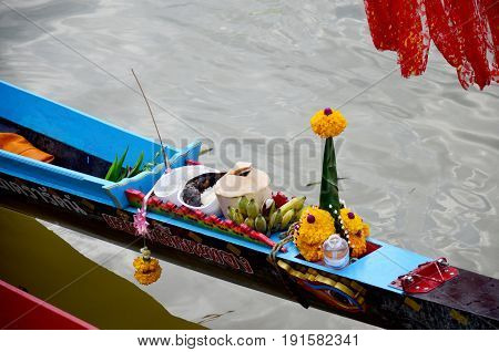 Thai People Offerings Dedicated Or Sacrifices For Boat Nymph Or Guardian Goddess Of Boats