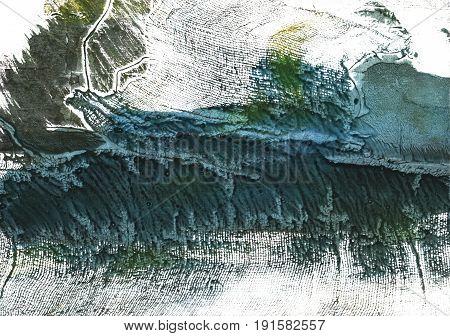 Hand-drawn abstract watercolor background. Used colors: White Dark slate gray Medium jungle green Gunmetal Japanese indigo Dark jungle green Deep Space Sparkle
