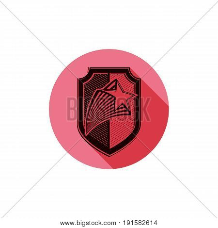 Heraldry theme conceptual icon protection shield isolated on white. Armed forces idea graphical coat of arms.