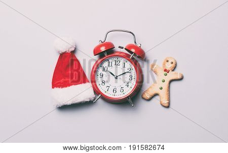 Red Alarm Clock And Gingerbread Man