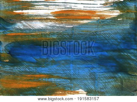 Hand-drawn abstract watercolor background. Used colors: Dark slate gray Japanese indigo White Yale Blue Gray-asparagus Army green Metallic blue Rifle green Kombu green