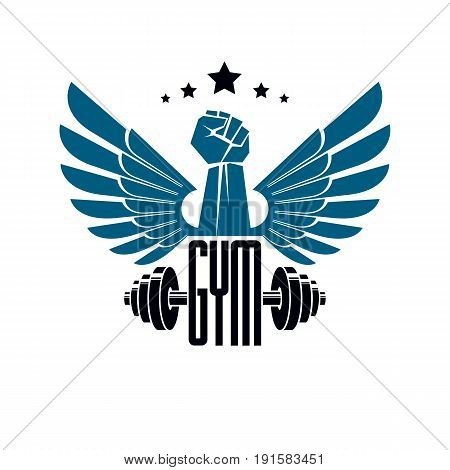 Gym weightlifting and fitness sport club logo retro style vector emblem with wings. With barbell and strong hand fist.