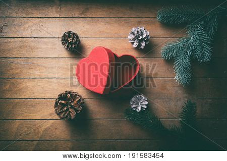 Red Heart Shape Box And Pine Cones With Branches