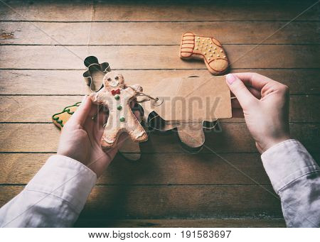 Christmas Gingerbread Man Cookie And Prise Tag