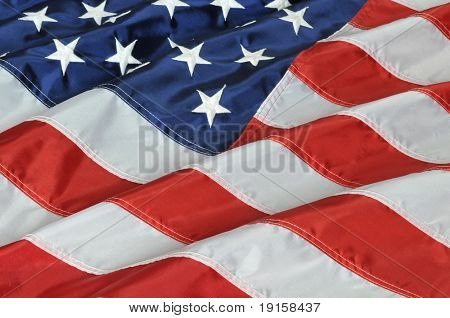The flag of the United States of America close up