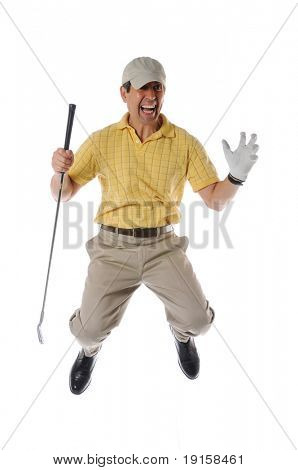 golfer jumping and celebrating isolated on a white background
