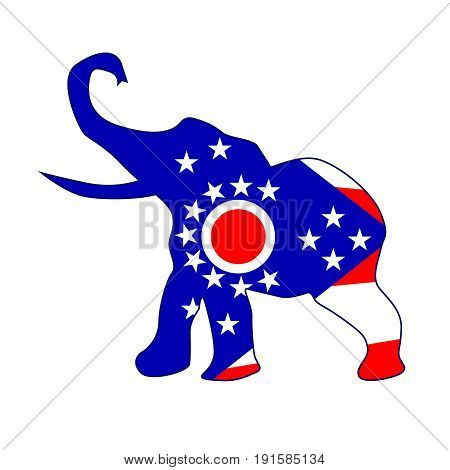 The Ohio Republican elephant flag over a white background